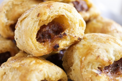 Sausage rolls made with homemade puff pastry