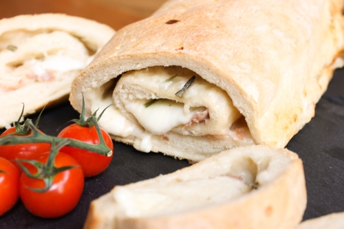 Mozzarella and parma ham stromboli