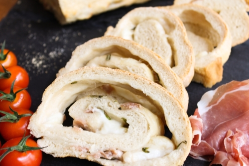 Parma ham and mozzarella stromboli